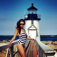 Shooting swimsuit editorials for Scene Magazine at the famous Brandt Point Lighthouse on #Nantucket.