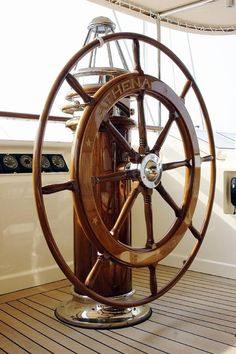 Sailing- We saw boat in Victoria BC last summer. Boat Wheel, Ship Wheel, Bateau Pirate, Sailboat Interior, Seaside Style, Ivy House, Yacht Boat, Nautical Fashion, Nautical Style