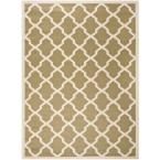 Courtyard Green/Beige 9 ft. x 12 ft. Indoor/Outdoor Area Rug