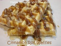 Cinnamon Roll Waffles - In a word:  AMAZING!  I would have licked my plate clean if was by myself.  The topping and glaze were sooooo delicious.  I just used a box pancake/waffle mix, so the only time-consuming part was making the topping and glaze.
