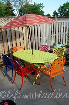 Colorful Wrought Iron Patio Set Using Multi Color Rustoleum Spray Paints