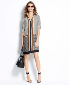 Diamond Cross Border Shift Dress | Ann Taylor