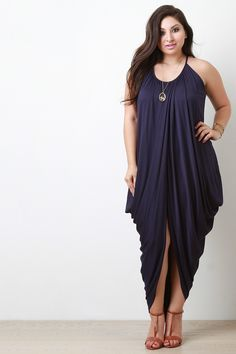 Free SH & Easy Returns! Shop Trapezoid Wrapped Cocoon Maxi Dress. This plus size maxi dress features a soft knit fabrication, scoop neckline spaghetti straps, gathered and draped wrap design, trapezoid silhouette,  with a high low style cocoon hemline.