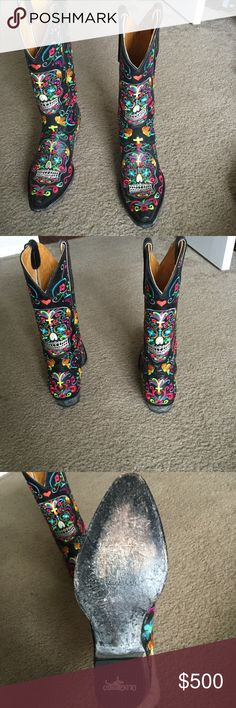 """Old Gringo Klak Woman's Boots Like New  No Scratches  Wore Once No box included Price is firm  Old Gringo Klak is handmade in good ol' Mexico for Boot Star by Old Gringo. Black leather adorned with festive multicolored embroidery paying homage to """"Dia De Los Muertos,"""" Klak features Day of the Dead skulls on both foot and upper Details for Old Gringo Clovis Zip Cross Black: 13"""" height 4L toe (elongated classic box toe) 9964 heel (cowgirl 1-3/4"""") Black distressed sole and heel finish Old…"""