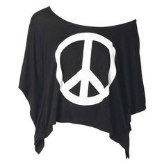 Peace Sign Poncho ($9.99) ❤ liked on Polyvore featuring tops, t-shirts, shirts, blusas, peace sign shirt, poncho style shirts, peace tee, peace shirt and tee-shirt