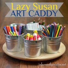 Art supply caddy with magnets to hold the pots in place. Great idea from http://www.infarrantlycreative.net