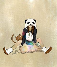 Девочка Панда и кот Барсик. Добрые рисунки от White Box