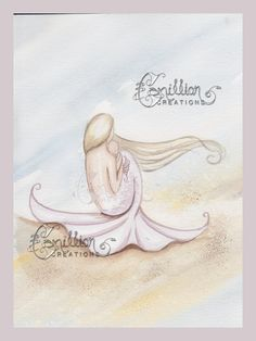 Mermaid on the Beach with Pink Baby Original Watercolor Painting by Camille Grimshaw