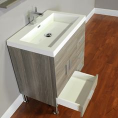 Alya Bath Ripley Collection 30 inch modern bathroom vanity with drawers is designed to give you more space. Features four soft closing drawers that are ideal for placing extra toiletries, towels and other bathroom essentials. The white integrated acrylic Modern Bathtub, Modern Bathroom, Grey Bathrooms, Bathroom Sets, Bathroom Vanities, Design Rustique, Layout, Best Bath, Single Bathroom Vanity