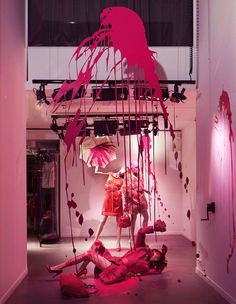 Lanvin pink splash window.