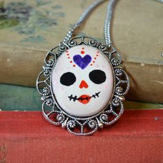 Hand Painted Cameo Framed Skull Necklace Day of by cirquedufrock