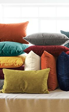 Velvet accent pillows are an easy way to add a pop of color to any room. Velvet Furniture, Modern Bedroom Furniture, Vintage Bedspread, Vintage Pillows, Velvet Sofa, Velvet Pillows, Modern Throw Pillows, Accent Pillows, Living Room Orange