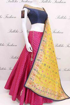 Designer Pure Silk Lehenga Set With Off Shoulder Blouse From Palkhi Fashion Royal Dresses, Indian Dresses, Indian Outfits, Indian Lehenga, Silk Lehenga, Jacket Lehenga, Silk Dupatta, Choli Designs, Lehenga Designs