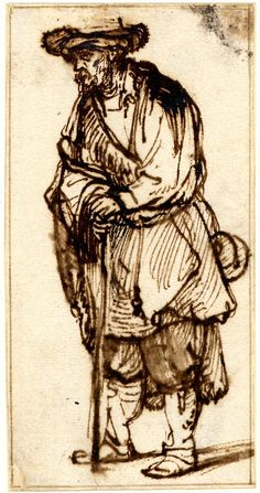 Rembrandt, A bearded old man in a fur hat, leaning on a stick; WL, almost to l, wearing a cloak and breeches. c.1641-5 Pen and brown ink, touched with brown wash
