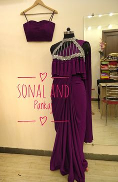 Wine Saree With Hand Embroidered Tassels Cape - – Sonal & Pankaj Sari Blouse Designs, Fancy Blouse Designs, Sari Design, Lehenga Designs, Stylish Sarees, Stylish Dresses, Saree Gown, Lehnga Dress, Saree Blouse