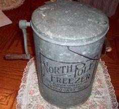 VINTAGE NORTH POLE FREEZER ICE CREAM MAKER  1910  wem