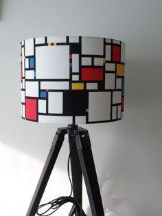 SUR COMMANDE: abat-jour tissu composition mondrian pour pied de lampe ou pour suspension : Luminaires par anne-claude-c