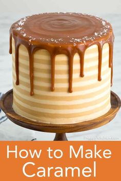 Silky smooth homemade caramel is beyond easy to make and perfect in cakes, cupcakes, frostings, ice cream and even coffee! This is the best recipe for a treat that can go on anything! #caramel #homemadecaramel Caramel Drip Cake, Salted Caramel Cake, Caramel Icing, Drip Cake Recipes, Dessert Recipes, Frosting Recipes, Cupcake Recipes, Bread Recipes, Soup Recipes