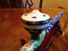Rare Qing Dynasty Cloisonné Opium Pipe With Porcelain Bowl Jade AND Stand | eBay