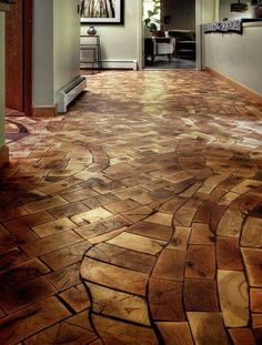 Love this flooring idea! Up cycled beams, maybe?