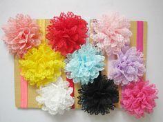 9pcs Lace Flower Kids Baby Girls Headband Hair Band Bow Headwear Accessories