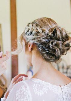 braided bun wedding hairstyle for long hair