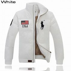 Ralph Lauren Men Full-Zip USA Flag Big Pony Quilted Down Jacket White