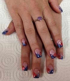 Nails blue American Red white & blue Gel Nails by Janee Tittensor @ www.awildhairsalo American Red white & blue Gel Nails by Janee Tittensor @ www. Nail Tip Designs, Holiday Nail Designs, Fingernail Designs, White Nail Designs, Holiday Nails, July 4th Nails Designs, Art Designs, Blue Gel Nails, White Nails