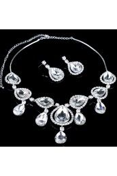 Alloy with Rhinestones and Glass Wedding Jewelry Set,Including Earrings and Necklace