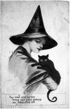 vintage Halloween card with witch and black cat