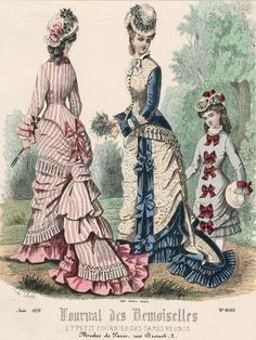 August Fashions, Journal des Demoiselles et Petit Courrier des Dames Réunis - France   c.1876