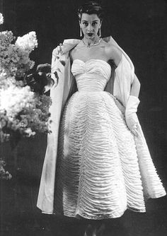 White ruched dress and wrap, by Pierre Balmain, French, 1953.