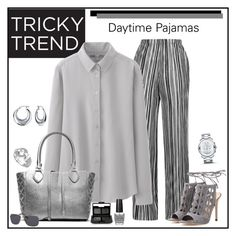 """""""Tricky Trend: Daytime Pajamas"""" by alina-n ❤ liked on Polyvore featuring Topshop, Uniqlo, Gianvito Rossi, Michael Kors, Bling Jewelry, Movado, Lagos, NARS Cosmetics, OPI and Polaroid"""