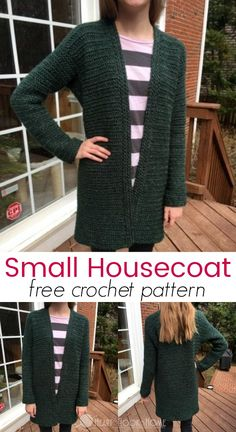 Crochet Patterns Blusas This is the petite version of the Hedonist's Housecoat, a free crochet pattern from Heart Hook Home. Gilet Crochet, Crochet Coat, Crochet Cardigan Pattern, Crochet Shawl, Easy Crochet, Crochet Clothes, Free Crochet, Crochet Patterns, Crochet Sweaters