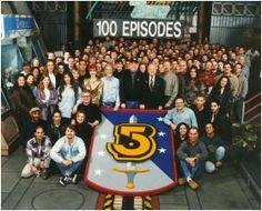 Babylon 5's 100th episode group shot.