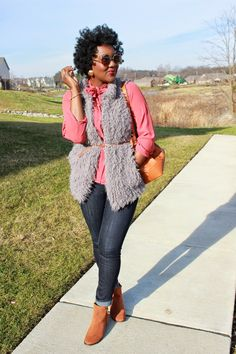 Chioma's Evolution of Style: Salmon + Shades of Gray