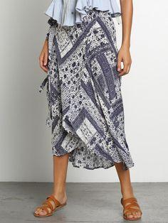 Floral Bandana Print Wrap Skirt