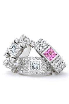 Princess cuts in pink and white will every women's heart delight. www.jennaclifford.com Jenna Clifford, Diamond Are A Girls Best Friend, Every Woman, Princess Cut, Stone Jewelry, Bracelet Watch, Jewelery, Stones, Heart
