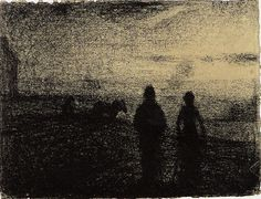 Georges Seurat (1859-1891) The Plowing, 1882-1883 Conté crayon - 24.5 x 32 cm Paris, Musée d'Orsay