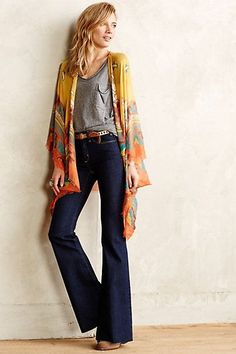 Love the rise and flare of jeans and kimonos