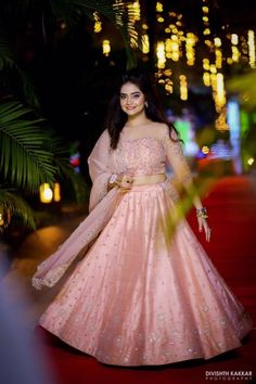 Looking for Light pink girly engagement lehenga with stone work? Browse of latest bridal photos, lehenga & jewelry designs, decor ideas, etc. Indian Wedding Gowns, Indian Bridal Lehenga, Indian Gowns Dresses, Indian Bridal Outfits, Indian Bridal Fashion, Indian Fashion Dresses, Indian Designer Outfits, Designer Dresses, Desi Wedding