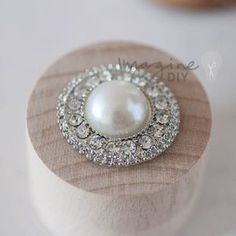 Mia embellishment. Large round pearl and crystal decoration for wedding invitations and stationery. DIY wedding stationery supplies