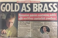 A Sunday World newspaper article, featuring Martin Gear, where he discusses and warns about brass being passed of as gold. Romanian Gypsy, Rock Bottom, Dublin, Sunday, Brass, King, Jewellery, People, Gold