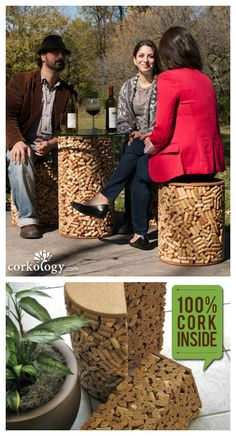 Solid cork. More than 7,400 corks make up each set, representing more than $110,000 in consumed wine. That, my friends, is awesome. Use it on the patio, in the intimate nook of your outdoor kitchen, or toss the stools in the lake and used it as a float toy (some do). This set of three pieces -... #Corks, #Furniture, #Recycled, #Stool, #Table