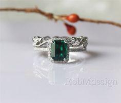 14k White Gold 2pcs Wedding Ring Set Full Eternity Floral Milgrain Wedding Band Emerald Cut 6*8mm Halo Diamond Emerald Ring Engagement Set by RobMdesign on Etsy https://www.etsy.com/listing/234080890/14k-white-gold-2pcs-wedding-ring-set