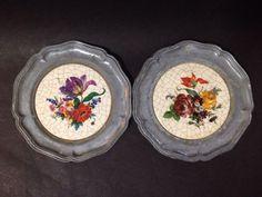 Estate Find - Vintage Ceramic Beer Trays w/ Flower Design - Set of 2 Design Set, Vintage Ceramic, Pie Dish, Flower Designs, Trays, Beer, Ceramics, Root Beer, Ceramica