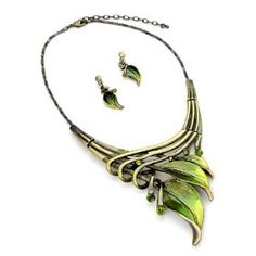 In LOVE with this Leaf Design Statement Necklace and Earring Set by #PammyJFashions xxx  #krissylovesbling