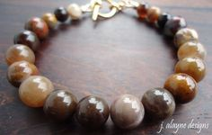 Round Wooden Agate Warm Earthy Toned Bracelet by jalayne on Etsy
