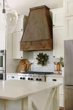 We designed and built a custom wood hood vent for our kitchen remodel. Kitchen Hood Design, Kitchen Vent Hood, Kitchen Stove, Kitchen Redo, Kitchen Remodel, Kitchen Ideas, Ranch Kitchen, Condo Remodel, Kitchen Inspiration