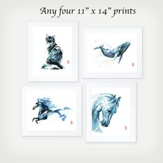 This item is a set of four 11 x 14 (27.9 cm x 35.6 cm) giclee fine art prints of original watercolor paintings by Jade Wu. The quality and texture